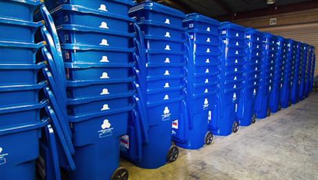 blue recylcle bins
